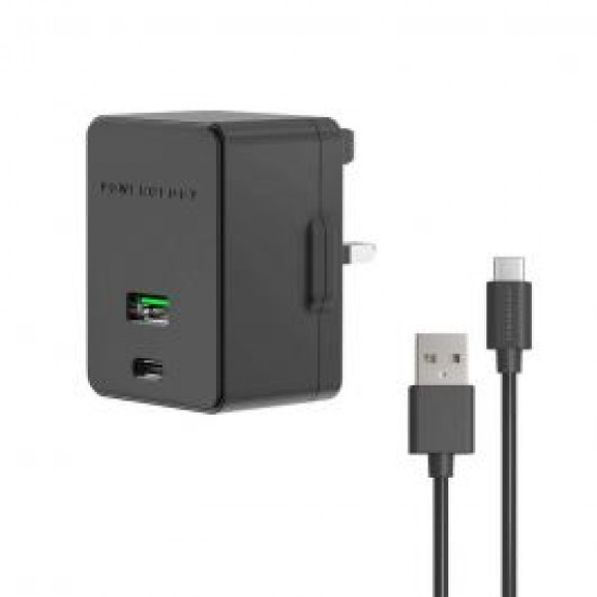 Powerology Dual Port Ultra-Quick PD Charger 36W with Type-C Cable 1.2m - Black