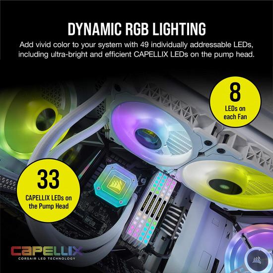 Corsair iCUE H100i ELITE CAPELLIX Liquid CPU Cooler - White