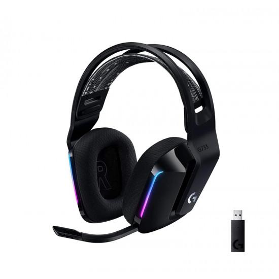 Logitech G733 LightSpeed White RGB Wireless Gaming Headset - Black